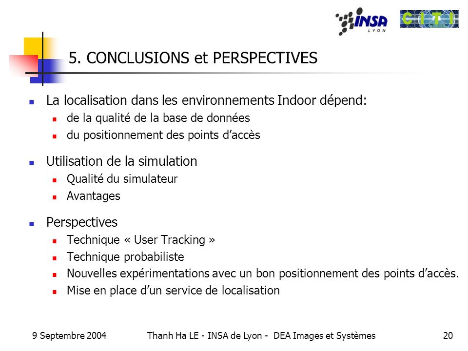 5. CONCLUSIONS et PERSPECTIVES