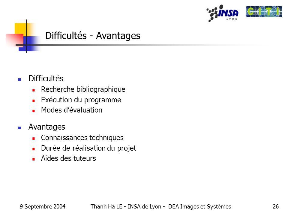 Difficultés - Avantages