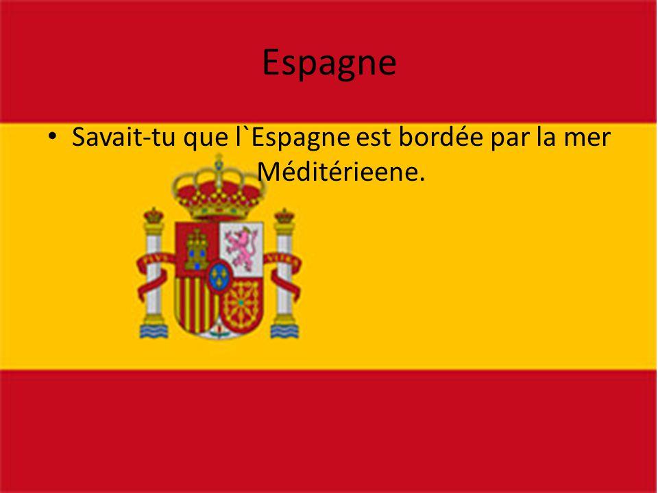 Savait-tu que l`Espagne est bordée par la mer Méditérieene.