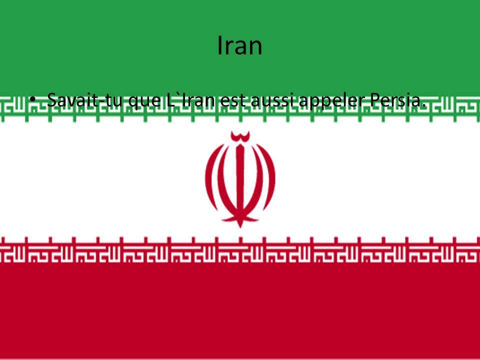 Iran Savait-tu que L`Iran est aussi appeler Persia.