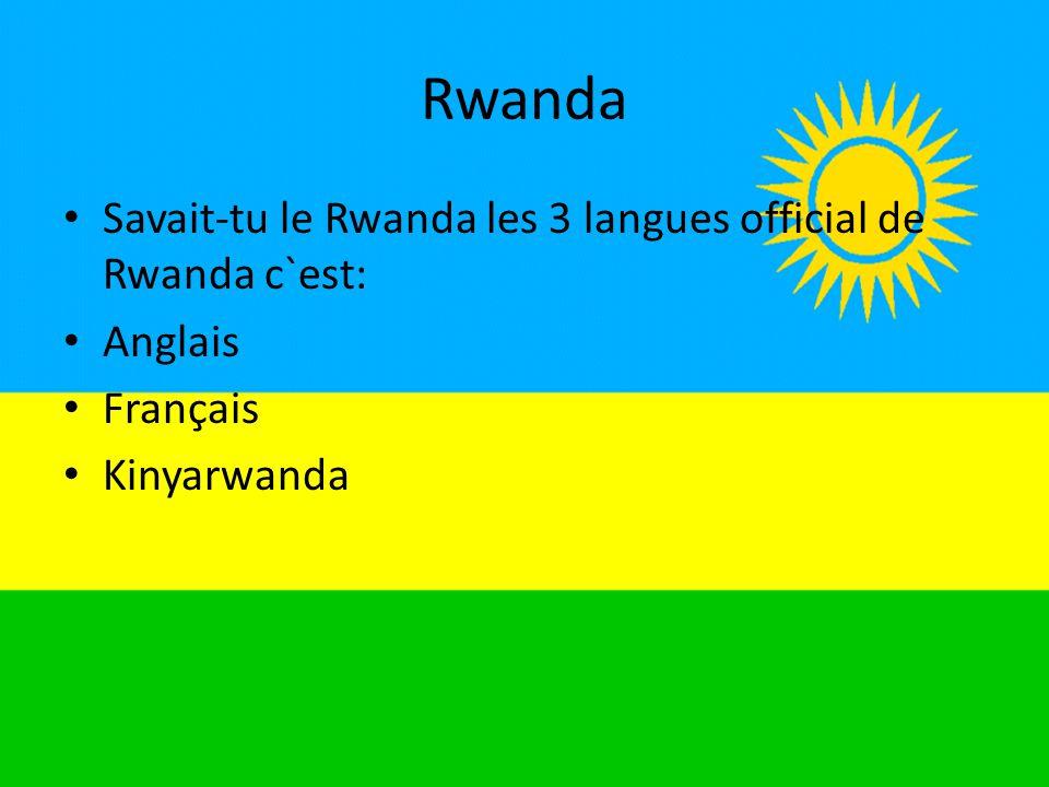 Rwanda Savait-tu le Rwanda les 3 langues official de Rwanda c`est: