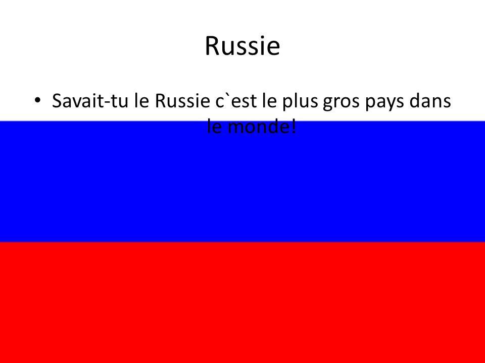 Savait-tu le Russie c`est le plus gros pays dans le monde!