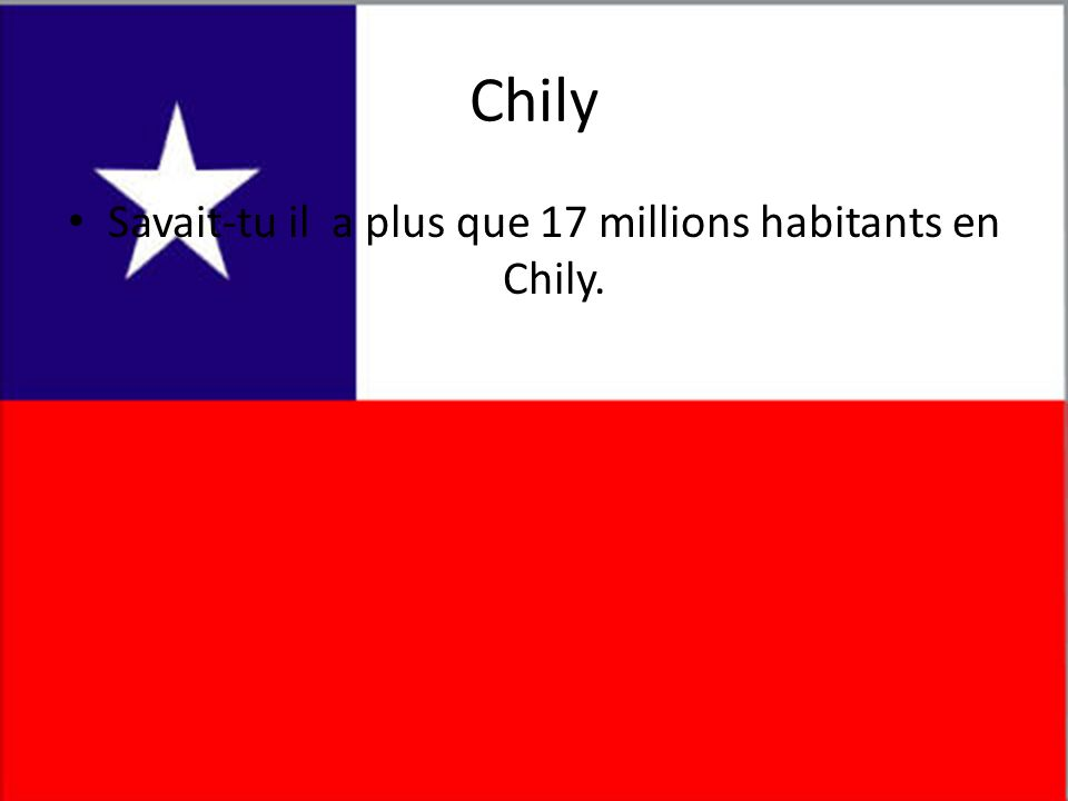 Savait-tu il a plus que 17 millions habitants en Chily.