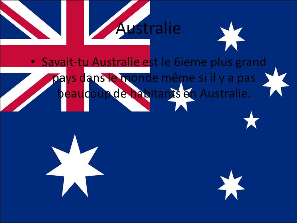Australie Savait-tu Australie est le 6ieme plus grand pays dans le monde même si il y a pas beaucoup de habitants en Australie.