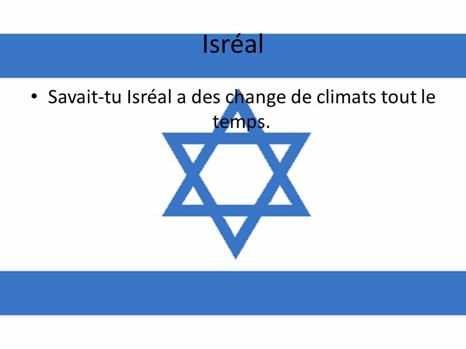 Savait-tu Isréal a des change de climats tout le temps.
