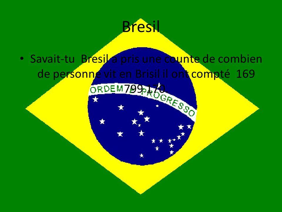 Bresil Savait-tu Bresil a pris une counte de combien de personne vit en Brisil il ont compté 169 799 170.