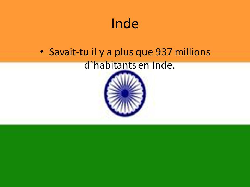 Savait-tu il y a plus que 937 millions d`habitants en Inde.