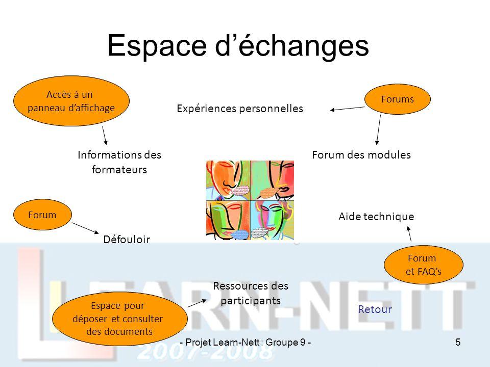 Espace d'échanges Expériences personnelles Informations des formateurs