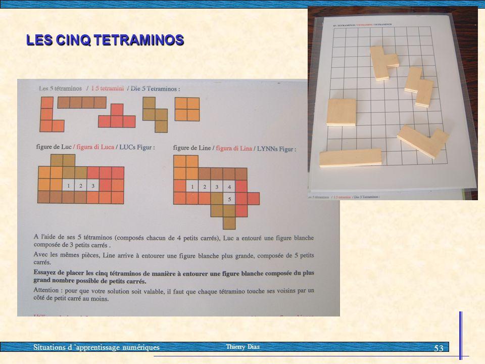 LES CINQ TETRAMINOS Situations d 'apprentissage numériques