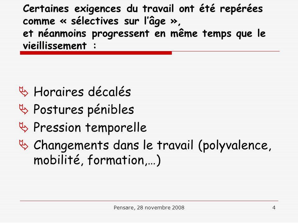 Changements dans le travail (polyvalence, mobilité, formation,…)