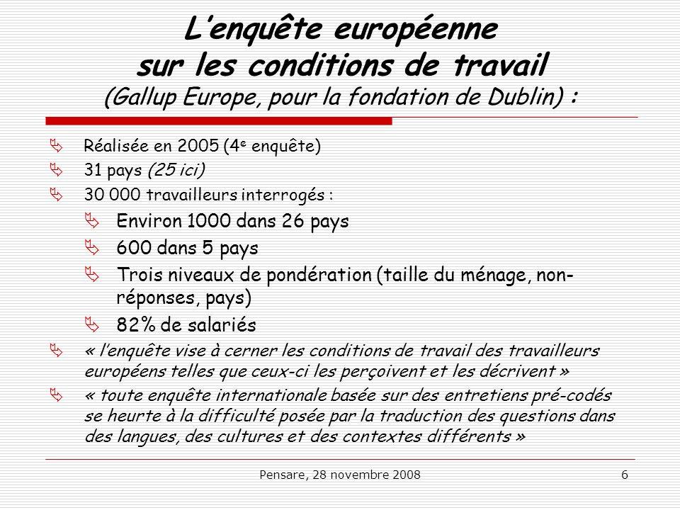 L'enquête européenne sur les conditions de travail (Gallup Europe, pour la fondation de Dublin) :