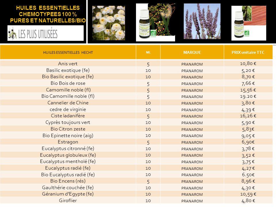 HUILES ESSENTIELLES CHEMOTYPEES 100 % PURES ET NATURELLES/BIO