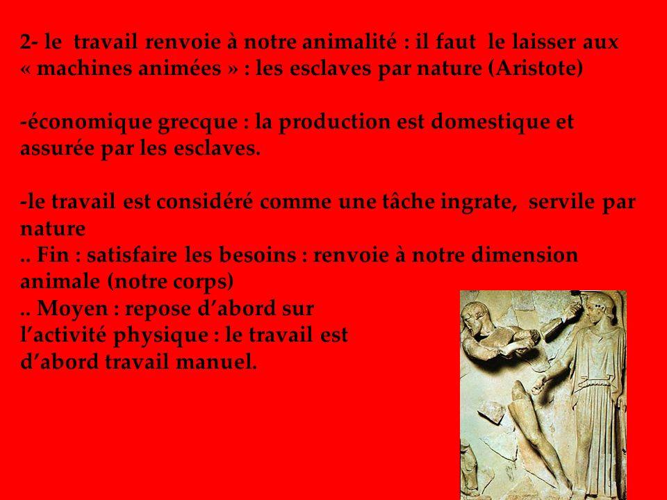 2- le travail renvoie à notre animalité : il faut le laisser aux