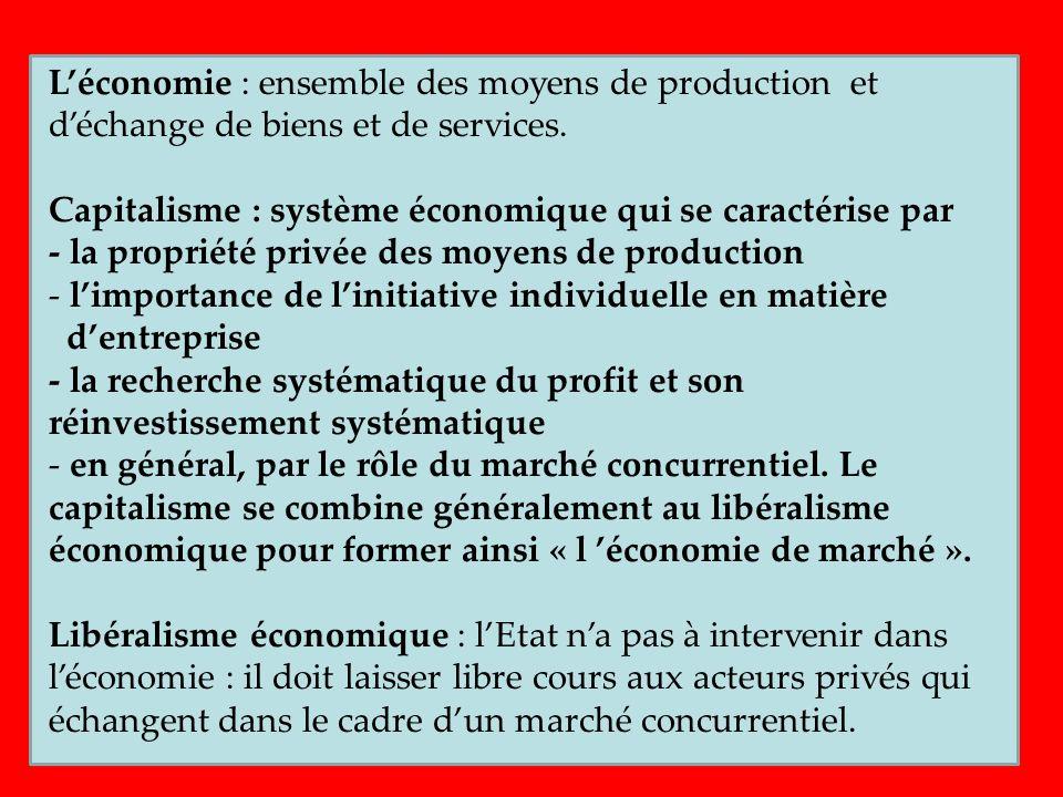L'économie : ensemble des moyens de production et d'échange de biens et de services.