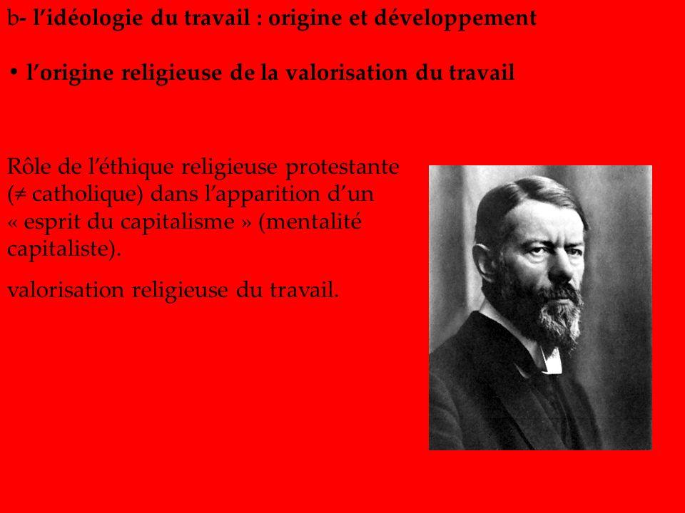 b- l'idéologie du travail : origine et développement
