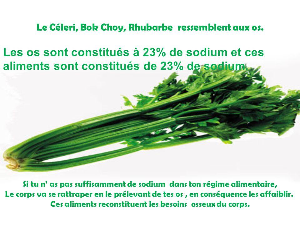 Le Céleri, Bok Choy, Rhubarbe ressemblent aux os.