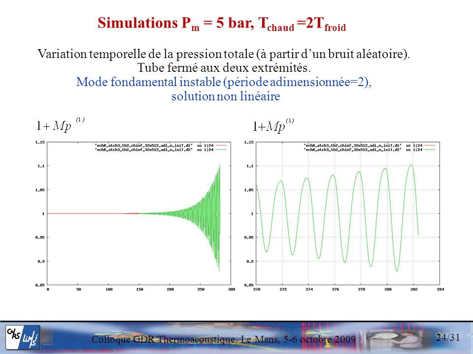 Simulations Pm = 5 bar, Tchaud =2Tfroid