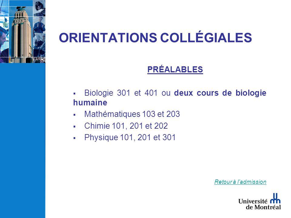 ORIENTATIONS COLLÉGIALES