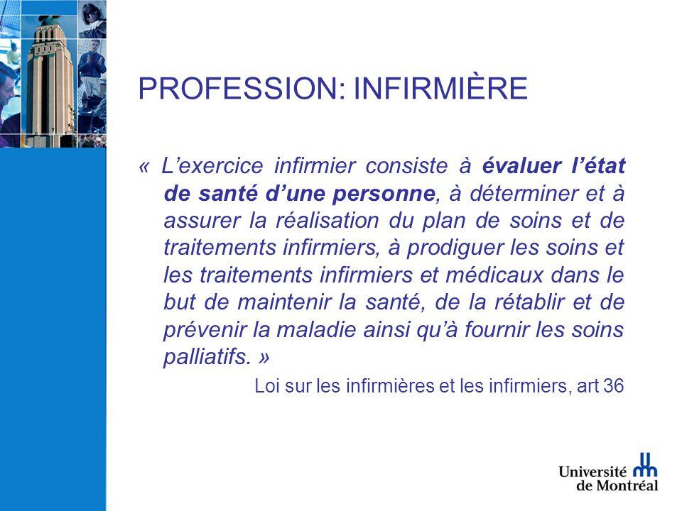 PROFESSION: INFIRMIÈRE
