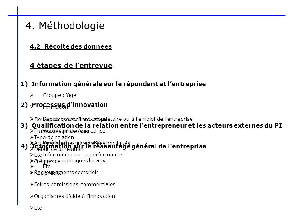 4. Méthodologie 4 étapes de l'entrevue 4.2 Récolte des données