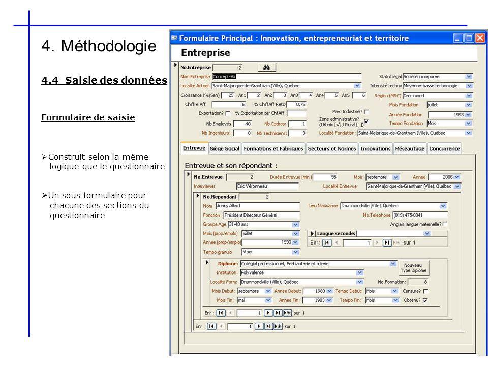 4. Méthodologie 4.4 Saisie des données Formulaire de saisie