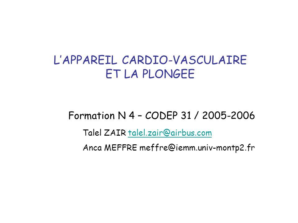 L'APPAREIL CARDIO-VASCULAIRE ET LA PLONGEE