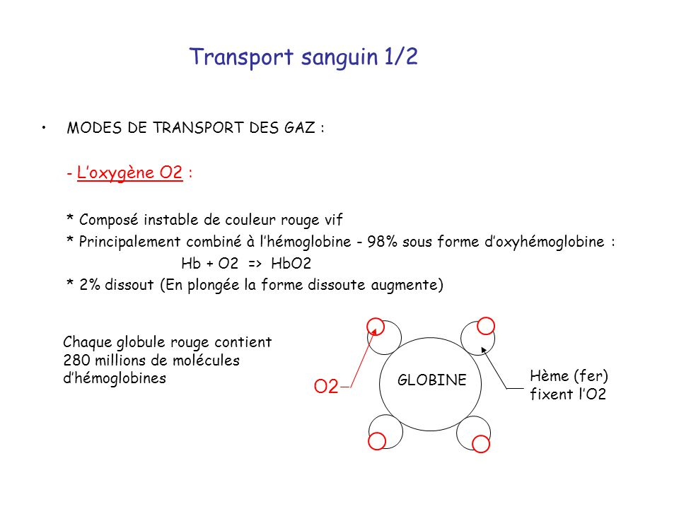 Transport sanguin 1/2 O2 MODES DE TRANSPORT DES GAZ : - L'oxygène O2 :