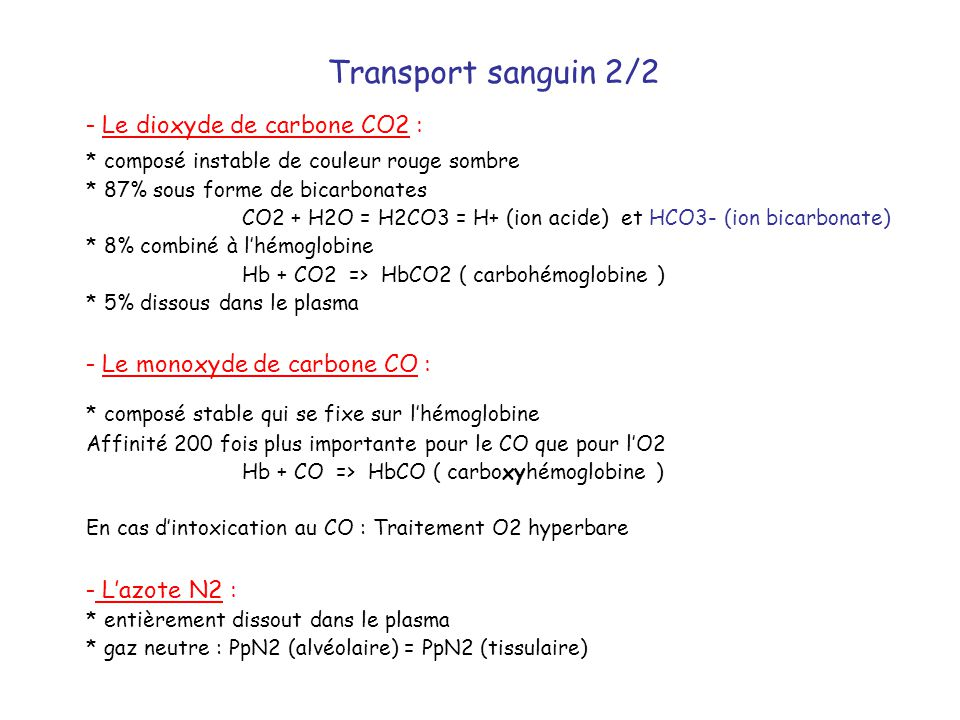 Transport sanguin 2/2 - Le dioxyde de carbone CO2 :