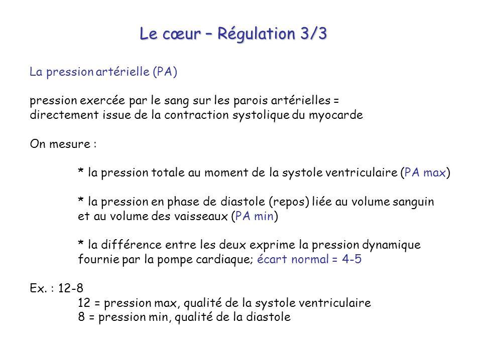 Le cœur – Régulation 3/3 La pression artérielle (PA)