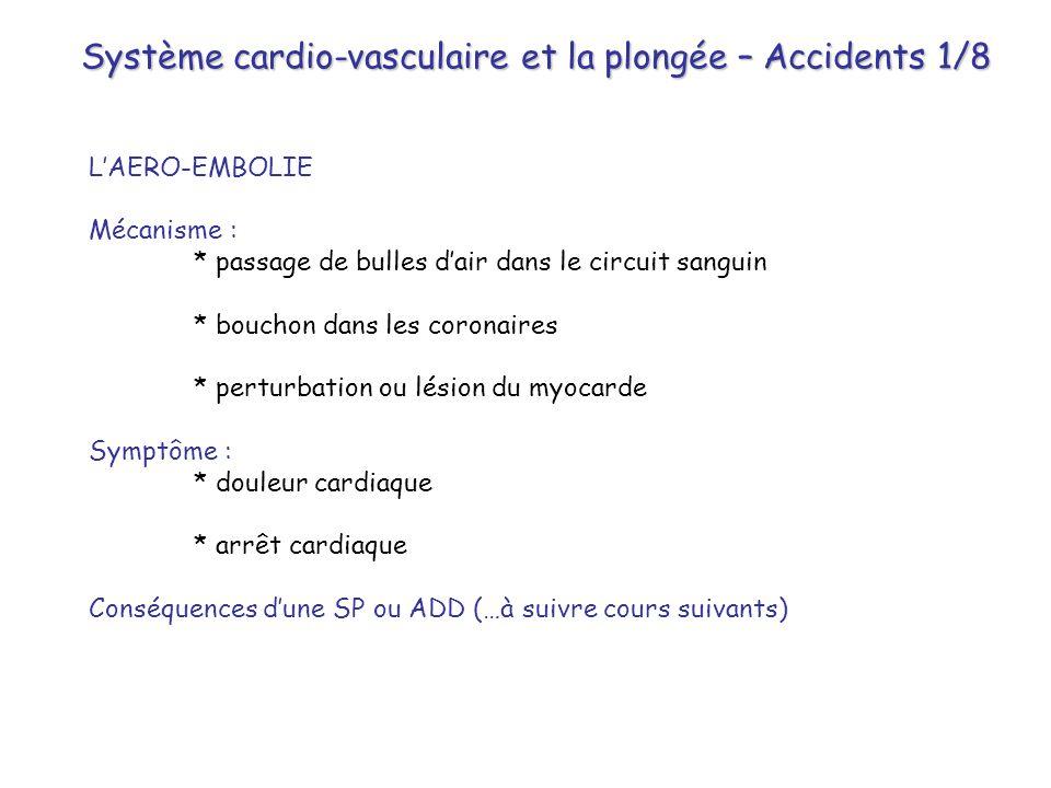 Système cardio-vasculaire et la plongée – Accidents 1/8