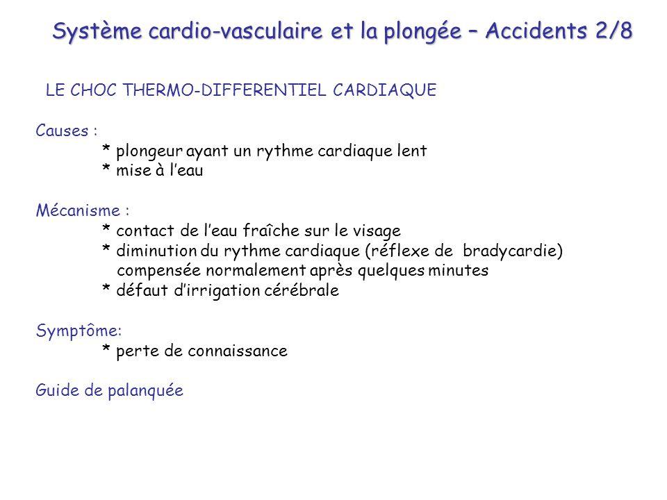 Système cardio-vasculaire et la plongée – Accidents 2/8
