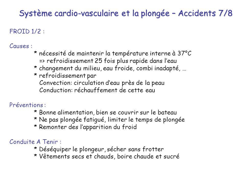 Système cardio-vasculaire et la plongée – Accidents 7/8