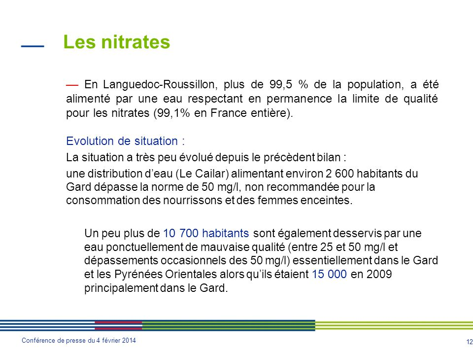 Les nitrates Evolution de situation :