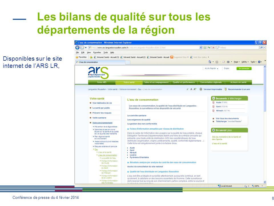 Les bilans de qualité sur tous les départements de la région