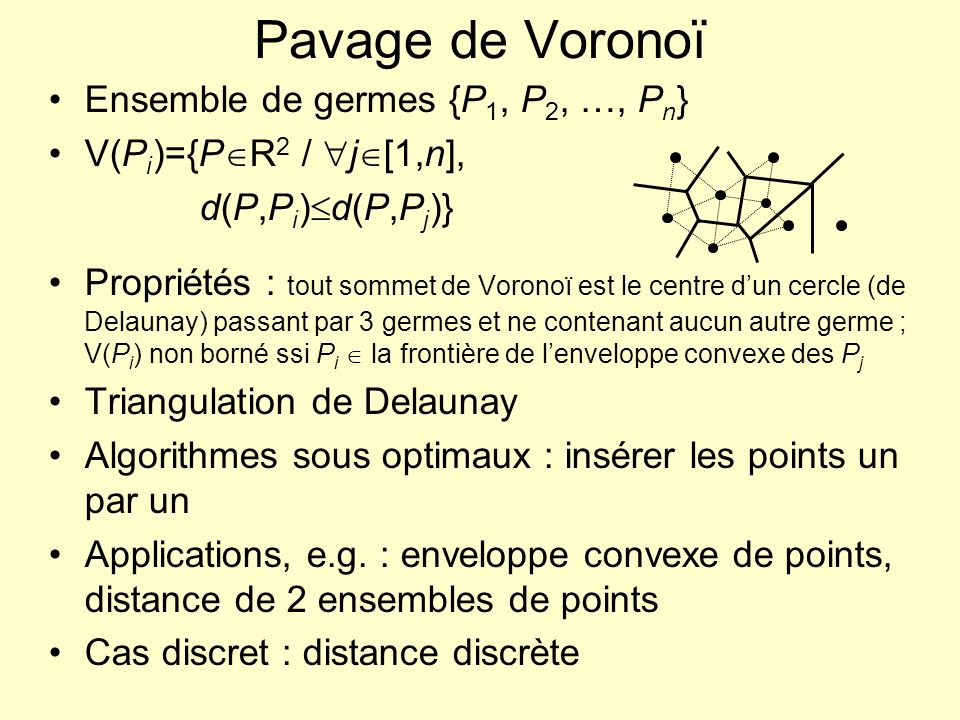 Pavage de Voronoï Ensemble de germes {P1, P2, …, Pn}