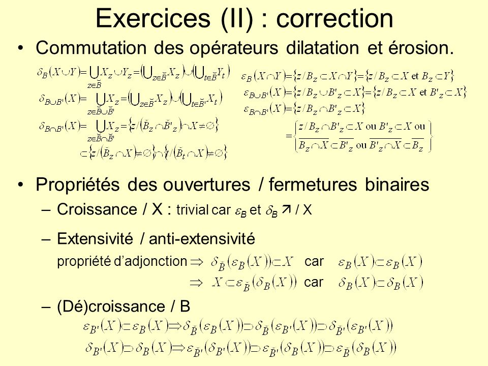 Exercices (II) : correction