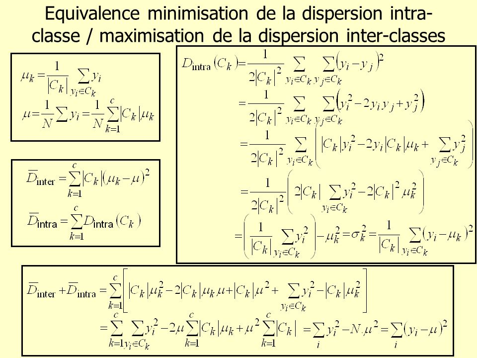 Equivalence minimisation de la dispersion intra-classe / maximisation de la dispersion inter-classes