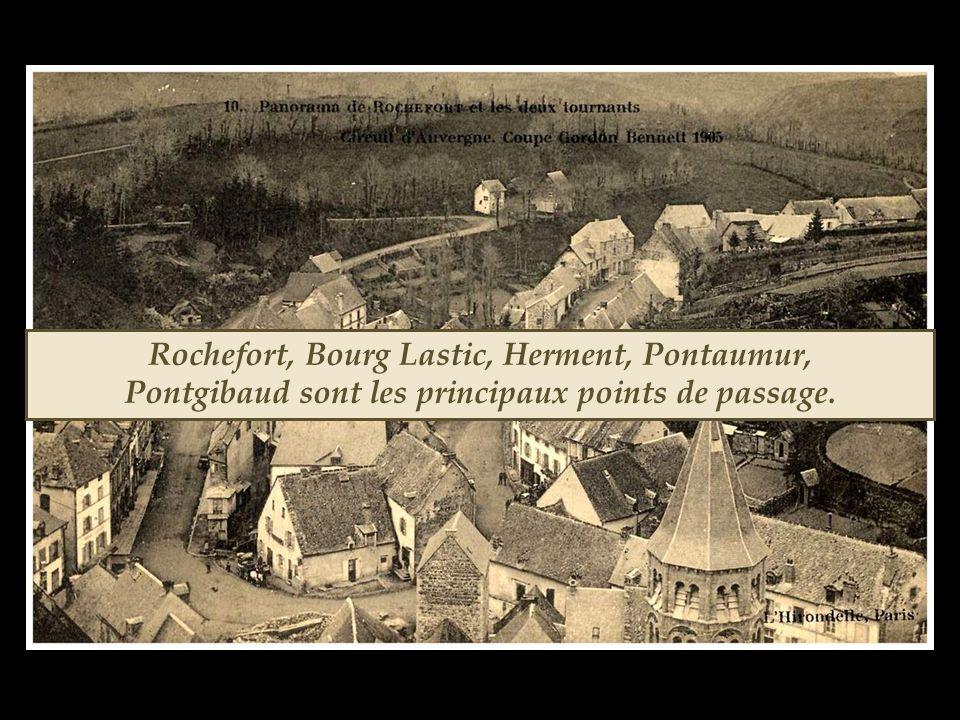 Rochefort, Bourg Lastic, Herment, Pontaumur, Pontgibaud sont les principaux points de passage.