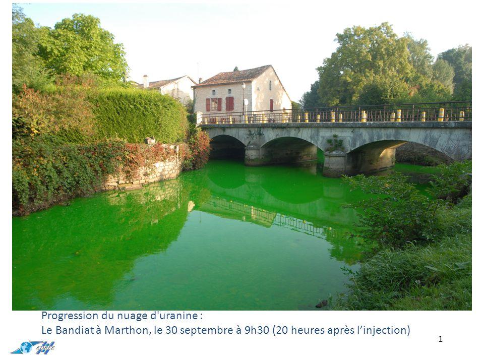 Progression du nuage d uranine : Le Bandiat à Marthon, le 30 septembre à 9h30 (20 heures après l'injection)