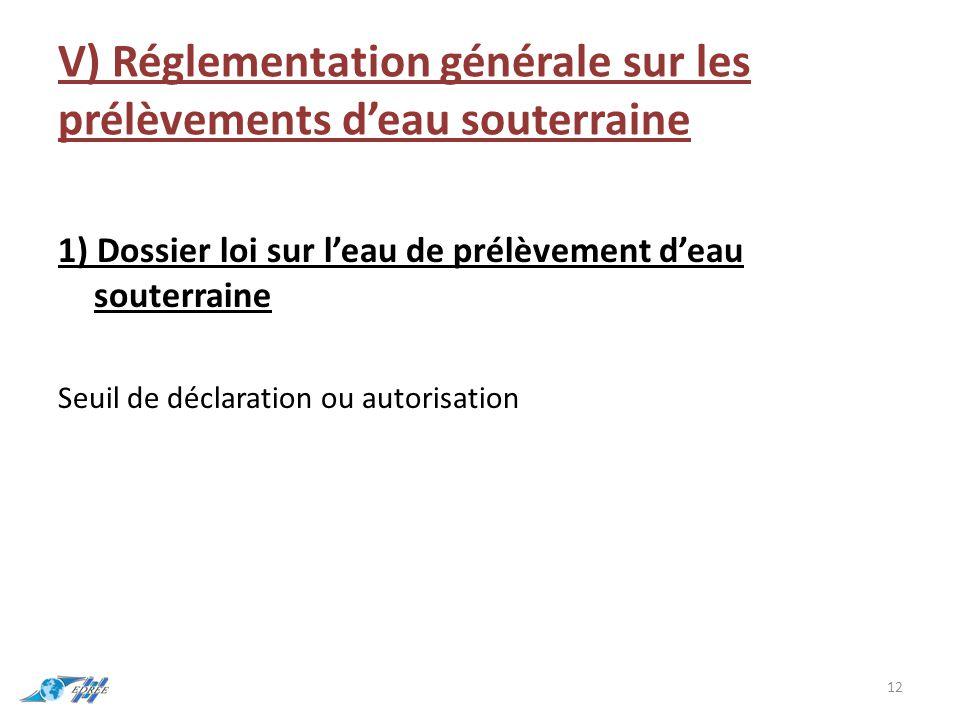 V) Réglementation générale sur les prélèvements d'eau souterraine