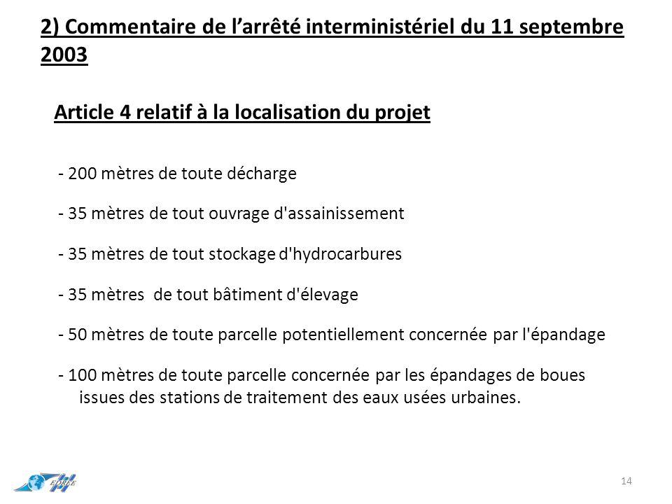 2) Commentaire de l'arrêté interministériel du 11 septembre 2003