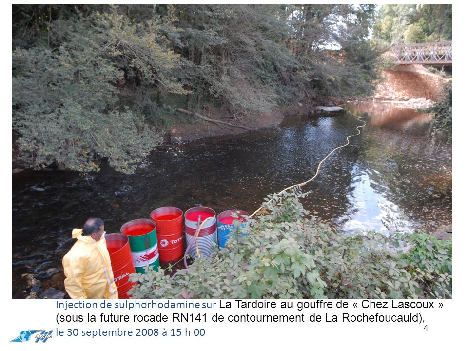 Injection de sulphorhodamine sur La Tardoire au gouffre de « Chez Lascoux » (sous la future rocade RN141 de contournement de La Rochefoucauld), le 30 septembre 2008 à 15 h 00