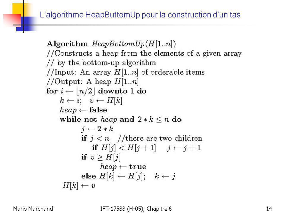 L'algorithme HeapButtomUp pour la construction d'un tas