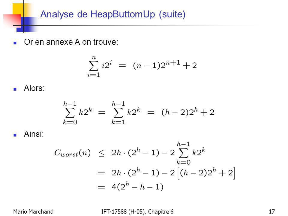 Analyse de HeapButtomUp (suite)