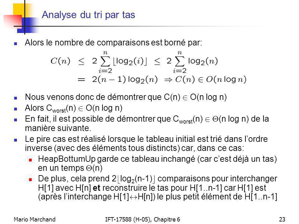 Analyse du tri par tas Alors le nombre de comparaisons est borné par: