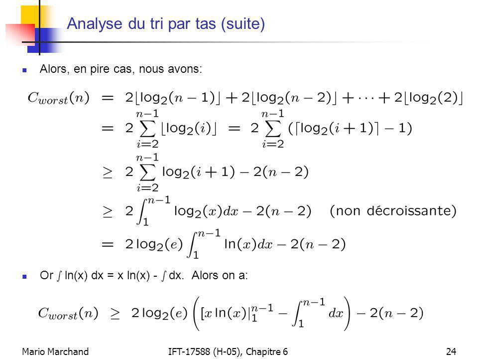 Analyse du tri par tas (suite)