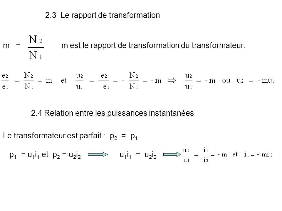 2.3 Le rapport de transformation