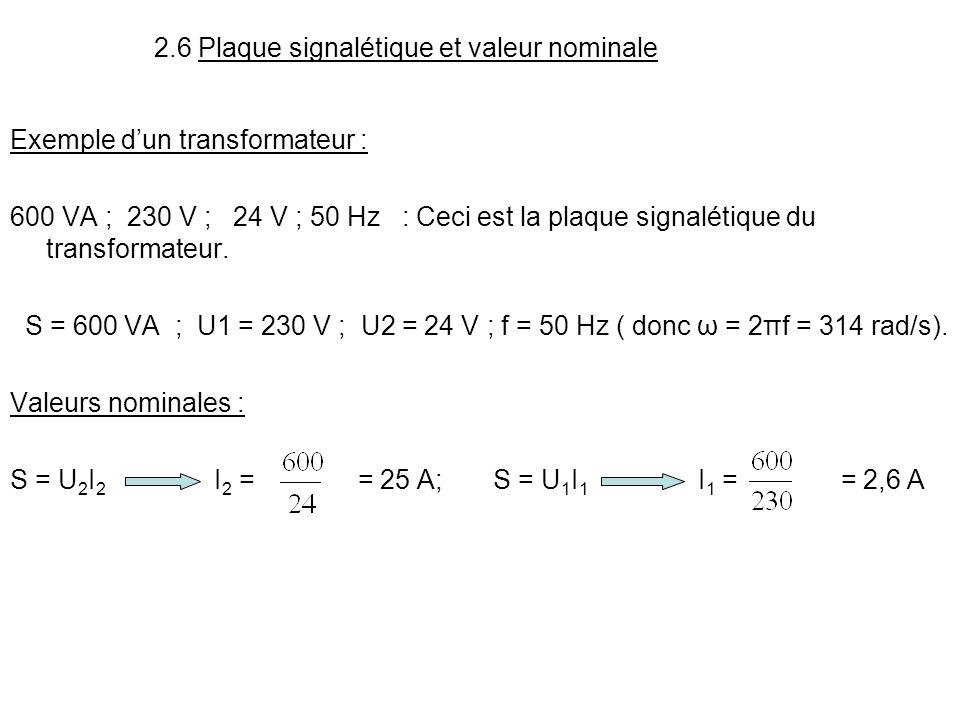 2.6 Plaque signalétique et valeur nominale