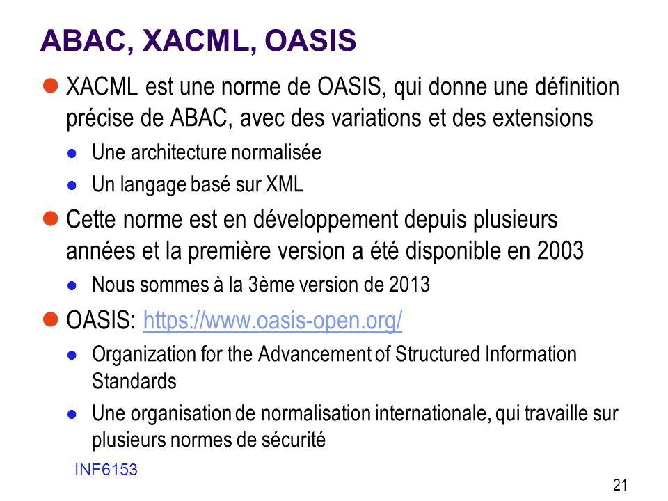 ABAC, XACML, OASIS XACML est une norme de OASIS, qui donne une définition précise de ABAC, avec des variations et des extensions.