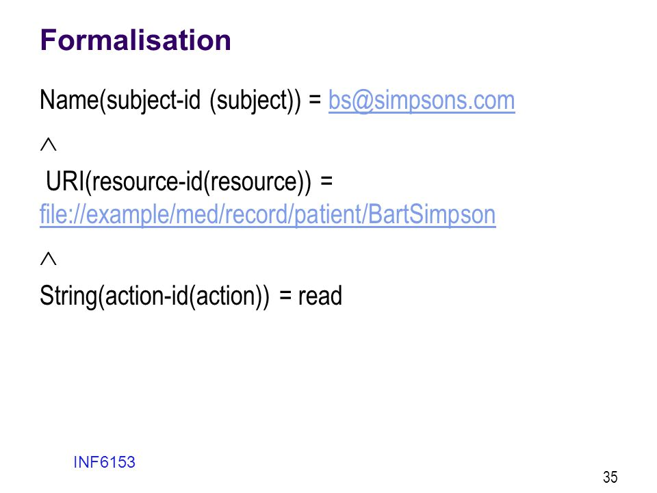 Formalisation  Name(subject-id (subject)) = bs@simpsons.com